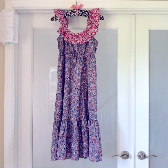 Ruffle cinched-waist midi dress in Liberty floral